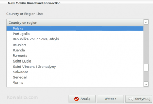 Kreator nowego połączenia sieciowego - wybór kraju