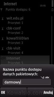 Nokia 5800 - nazwa punktu dostępowego
