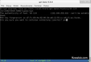 apt-dater - pierwsze połączenie z hostem zdalnym