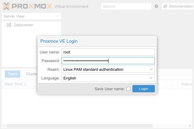 Instalacja Proxmox - logowanie przez WebUI