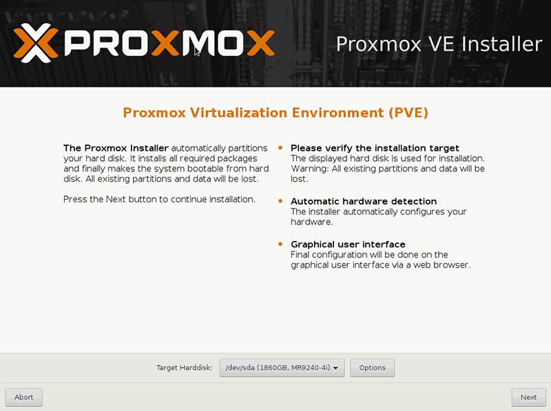 Instalacja Proxmox - wybór dysku