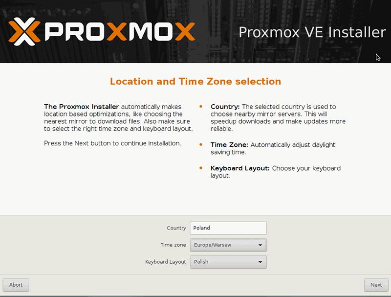 Instalacja Proxmox - lokalizacja i strefa czasowa