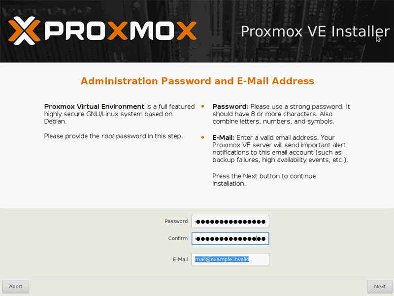 Instalacja Proxmox - ustawienie haseł