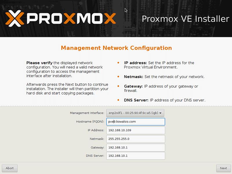 Instalacja Proxmox - ustawienia sieci