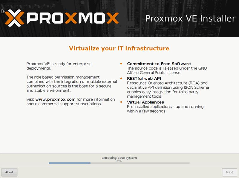 Instalacja Proxmox - instalacja systemu