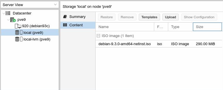 Proxmox VE - zawartość rezytorium local po wgraniu obrazu ISO