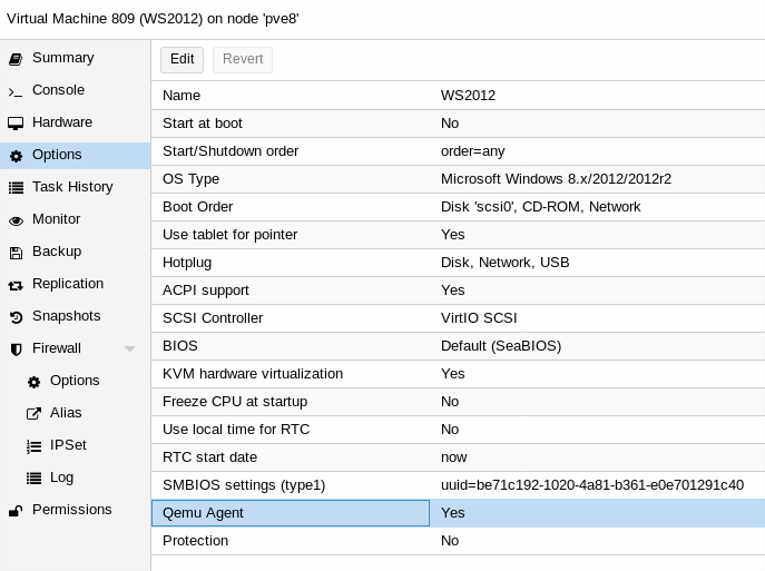 Proxmox VE - Aktywacja QEMU Guest Agent