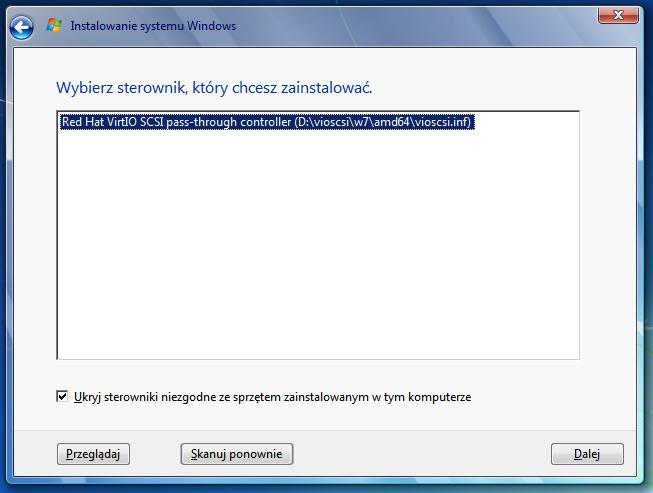 Wybór dodatkowych sterowników VirtIO podczas instalacji systemu Windows