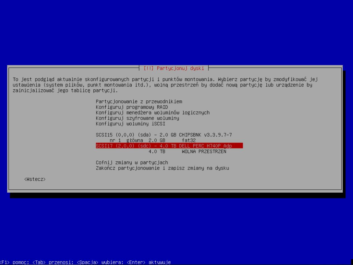 DELL PERC H740P - wykryty przez instalator systemu Debian 9