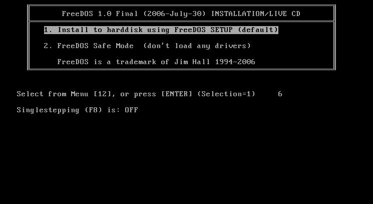 Bootowanie serwera ze zmodyfikowanego obrazu FreeDOS.