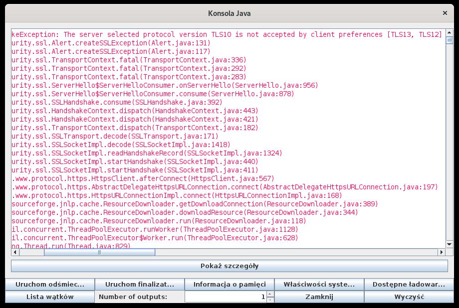 Aplet nie może zostać uruchomiony ze względu na zablokowanie algorytmów szyfrowania.