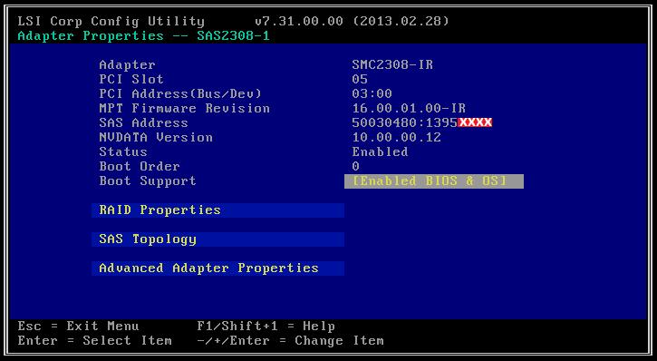 Supermicro SAS-2308-IR (adres SAS w narzędziu konfiguracyjnym)